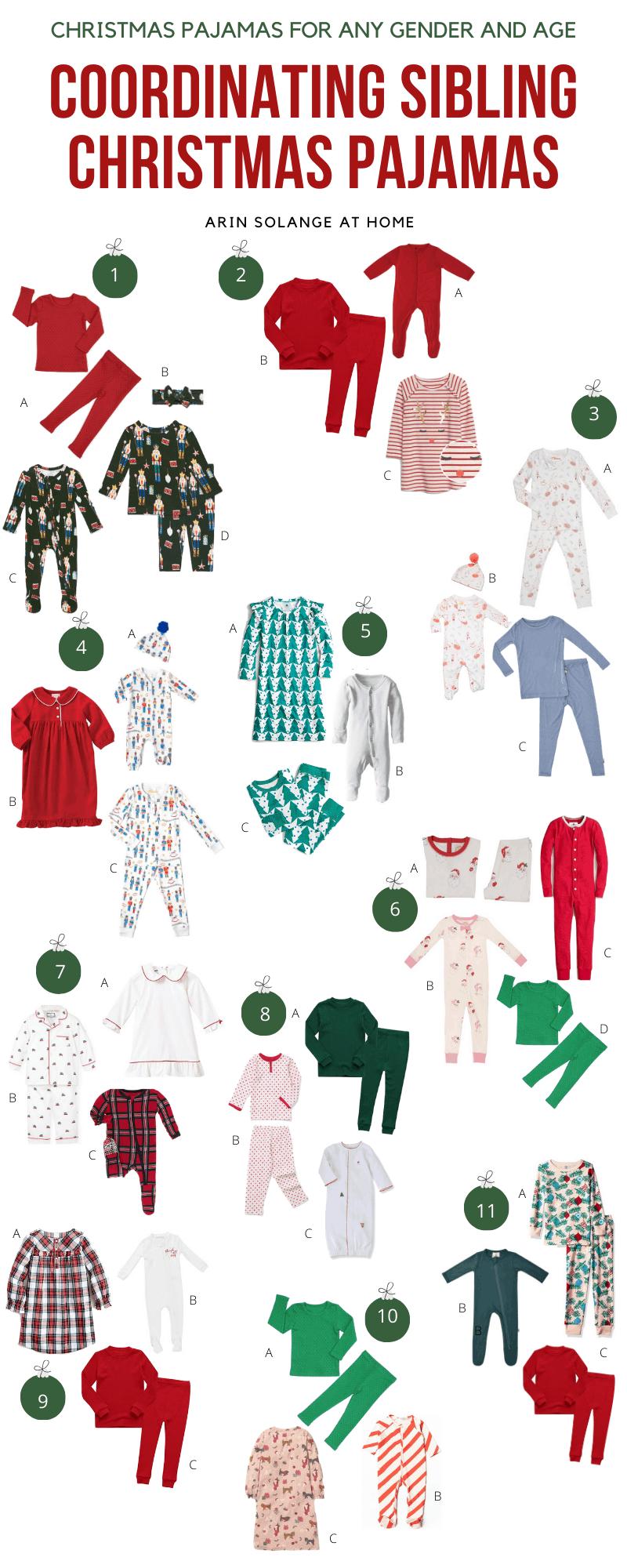 Coordinating Sibling Christmas Pajamas