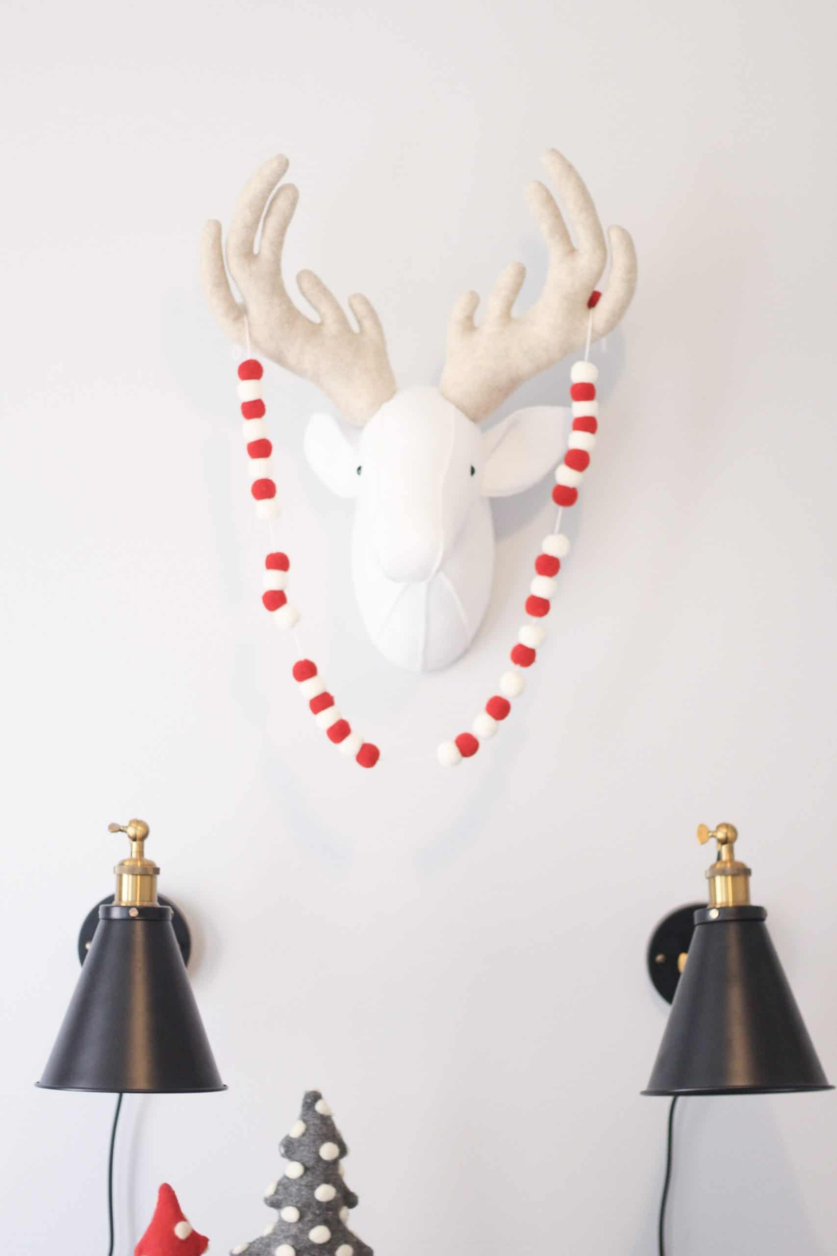 Felt Deer head on wall with Christmas Banner