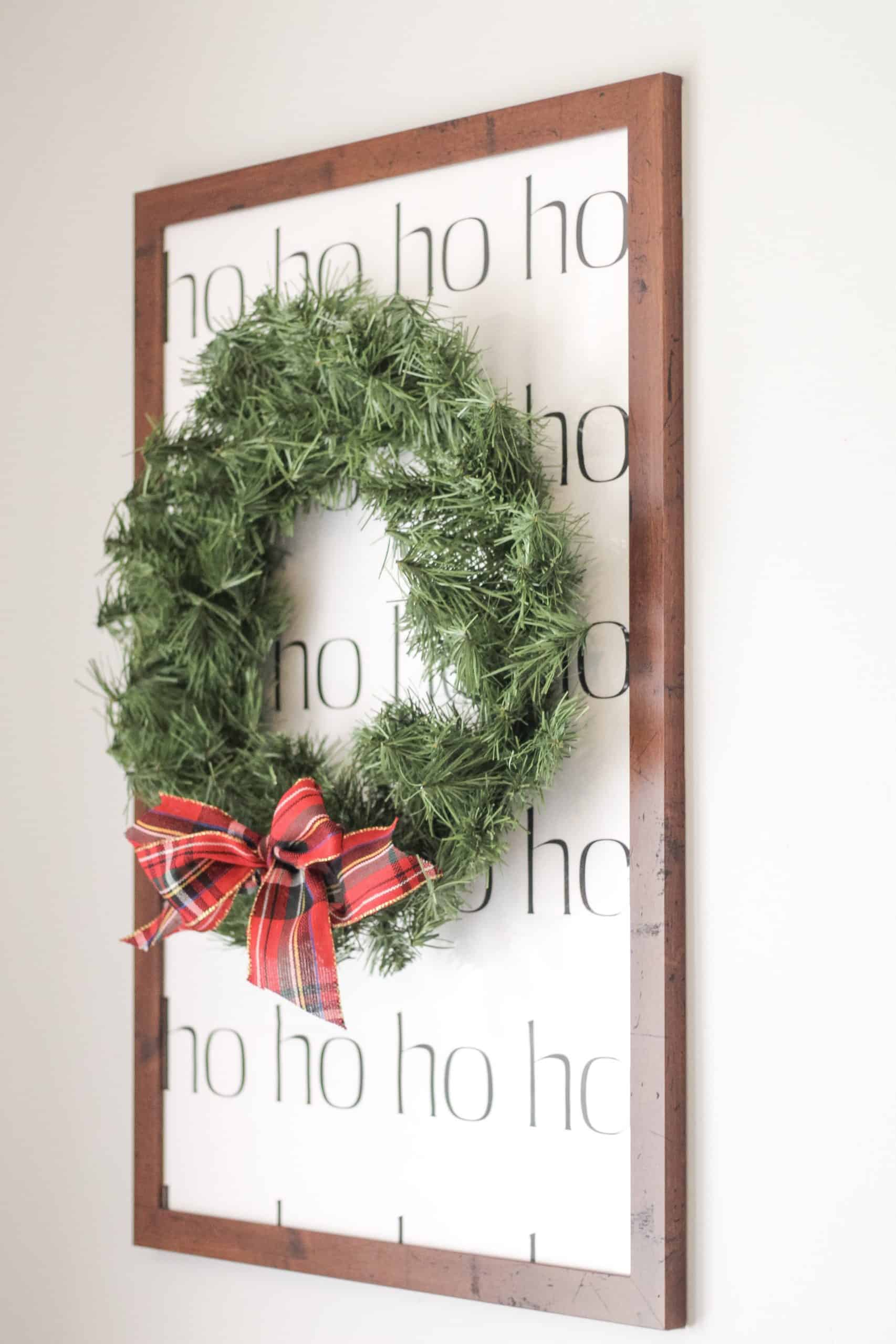 Framed HOHOHO Print with wreath