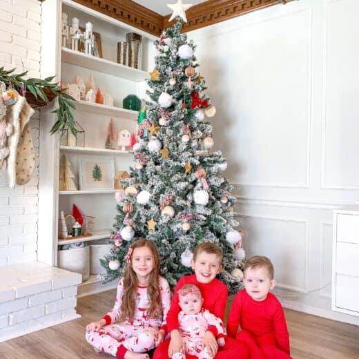 kids in coordinating family Christmas pajamas