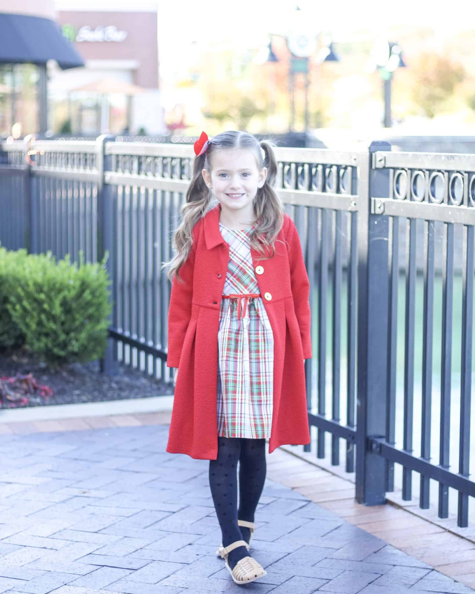 Little girl in Bonnie Jean Christmas Dress and Coat