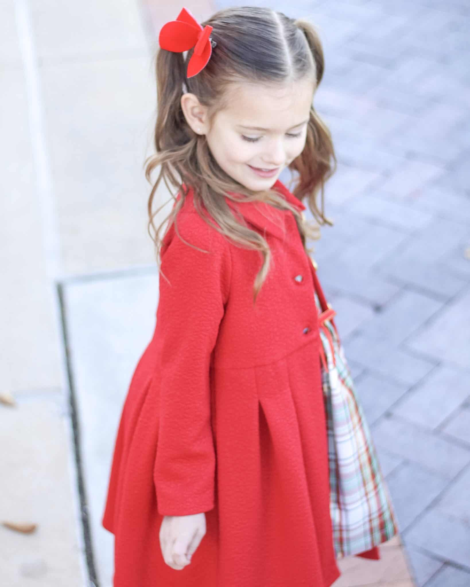 Little Girl in Bonnie Jean Red Coat