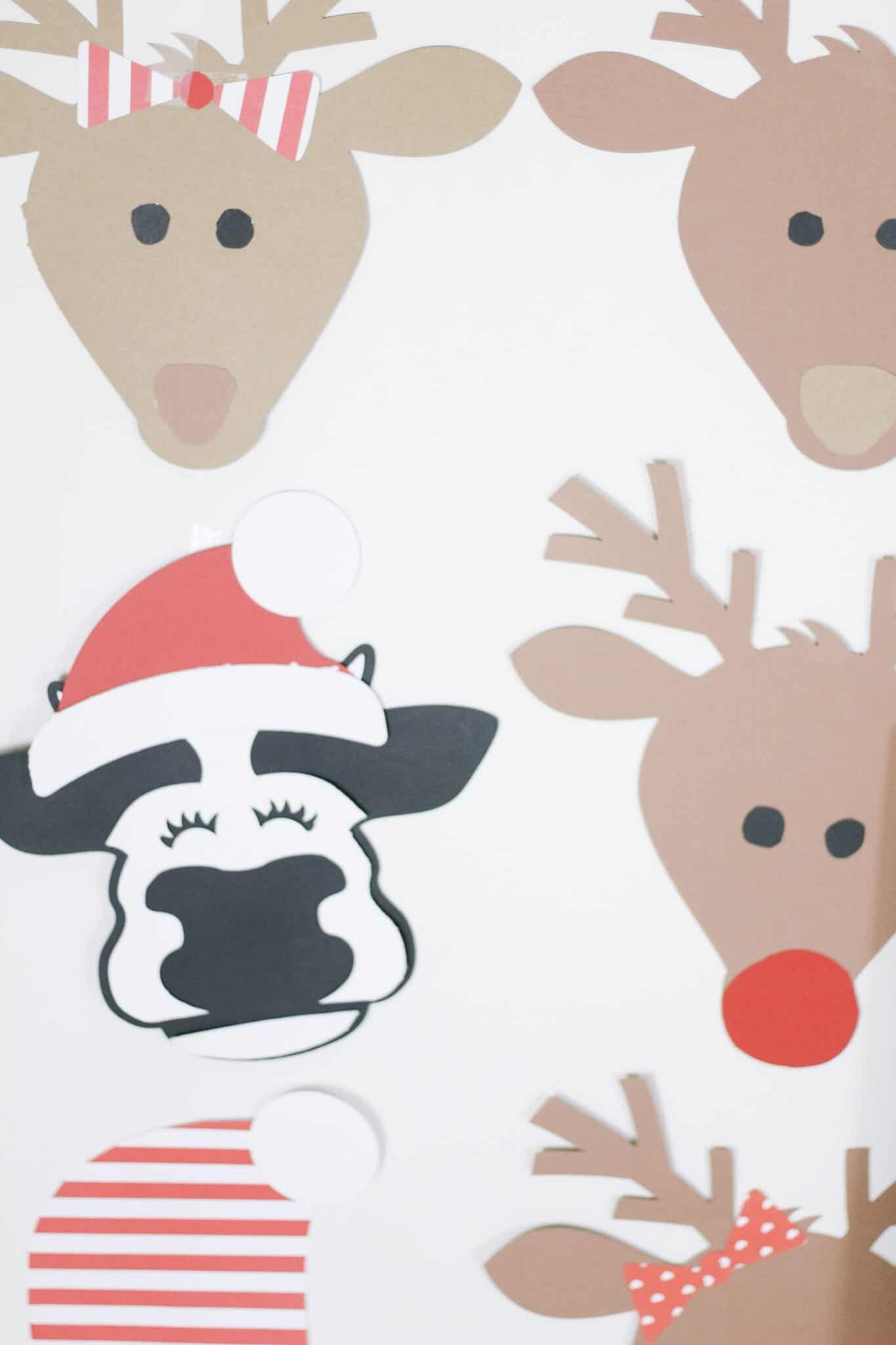 cows wearing Santa hats and reindeer