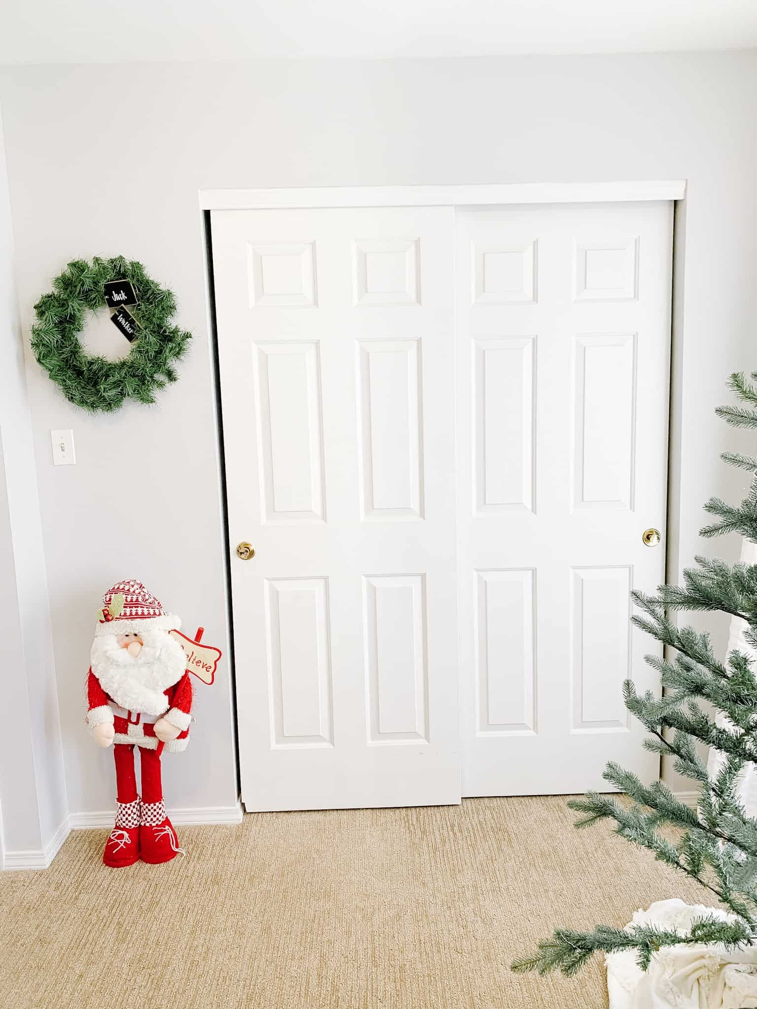 Santa and Wreath in Christmas Boys' Room by closet