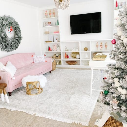 bright pink Christmas decor with pink couch