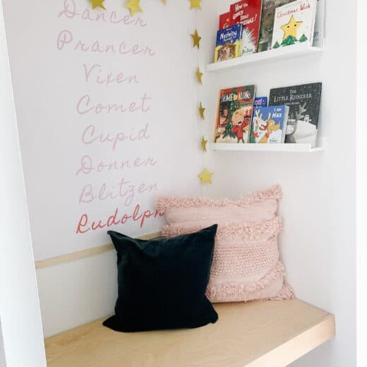 a hallway book nook with Christmas Books for kids