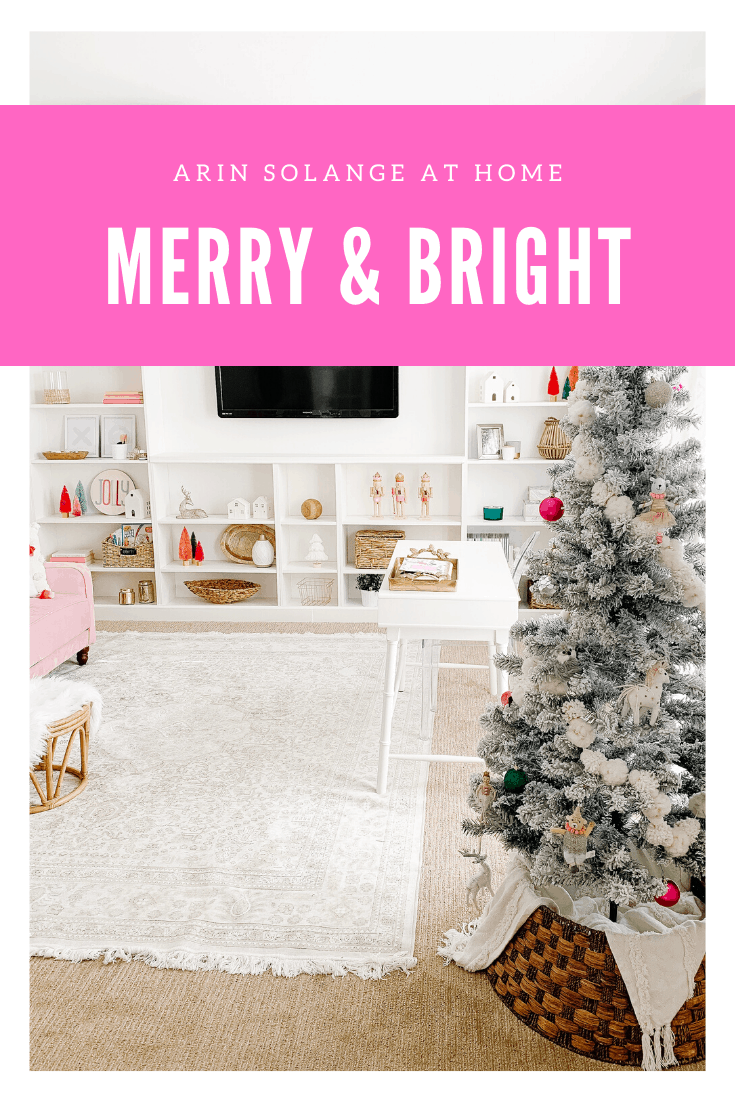Merry and Bright pink Christmas decor