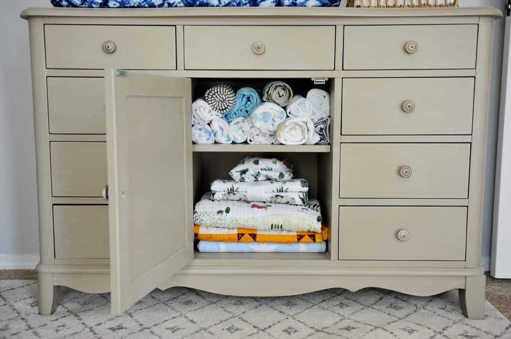 organized baby dresser