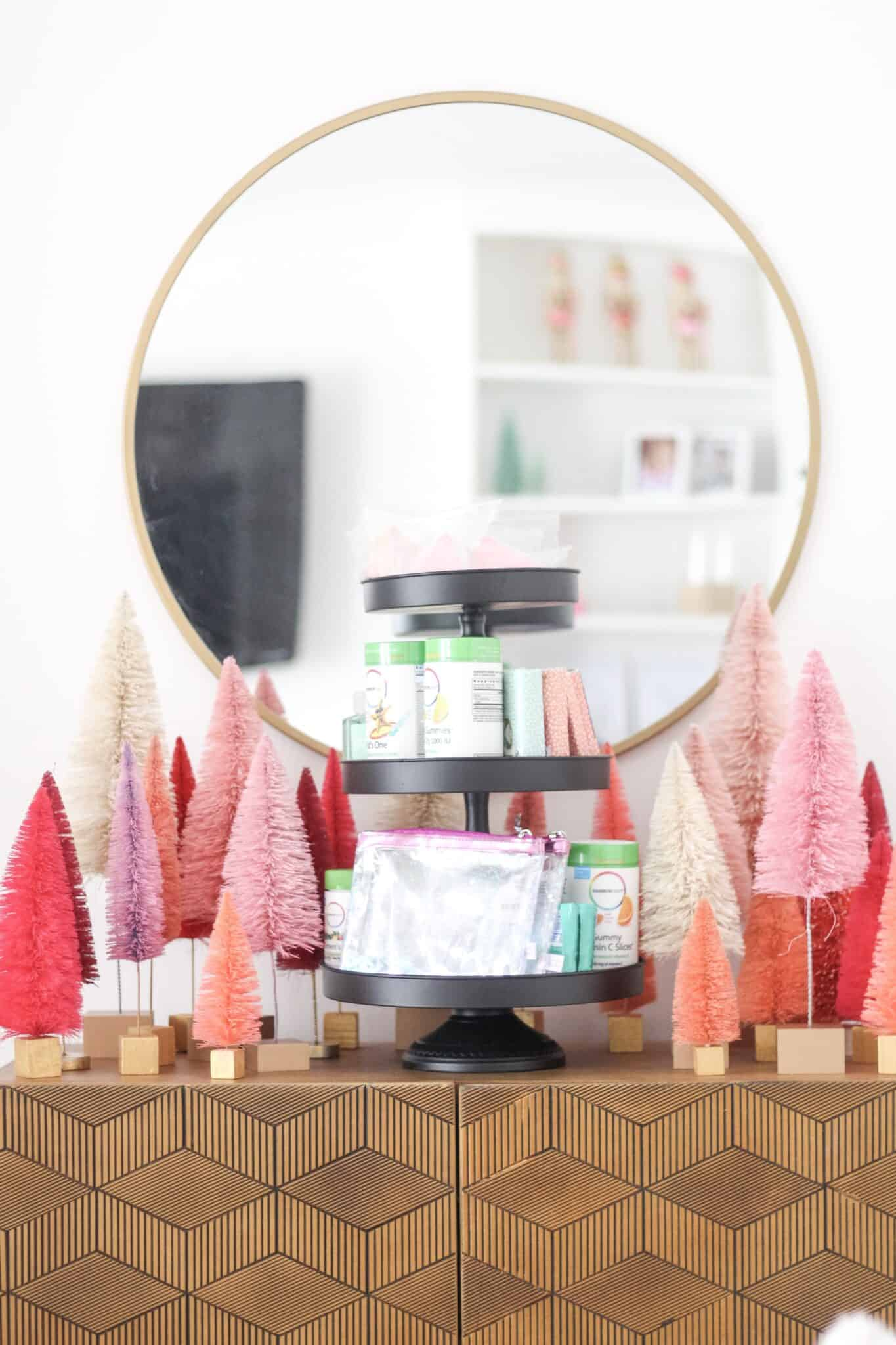 bottle brush trees and cake stand