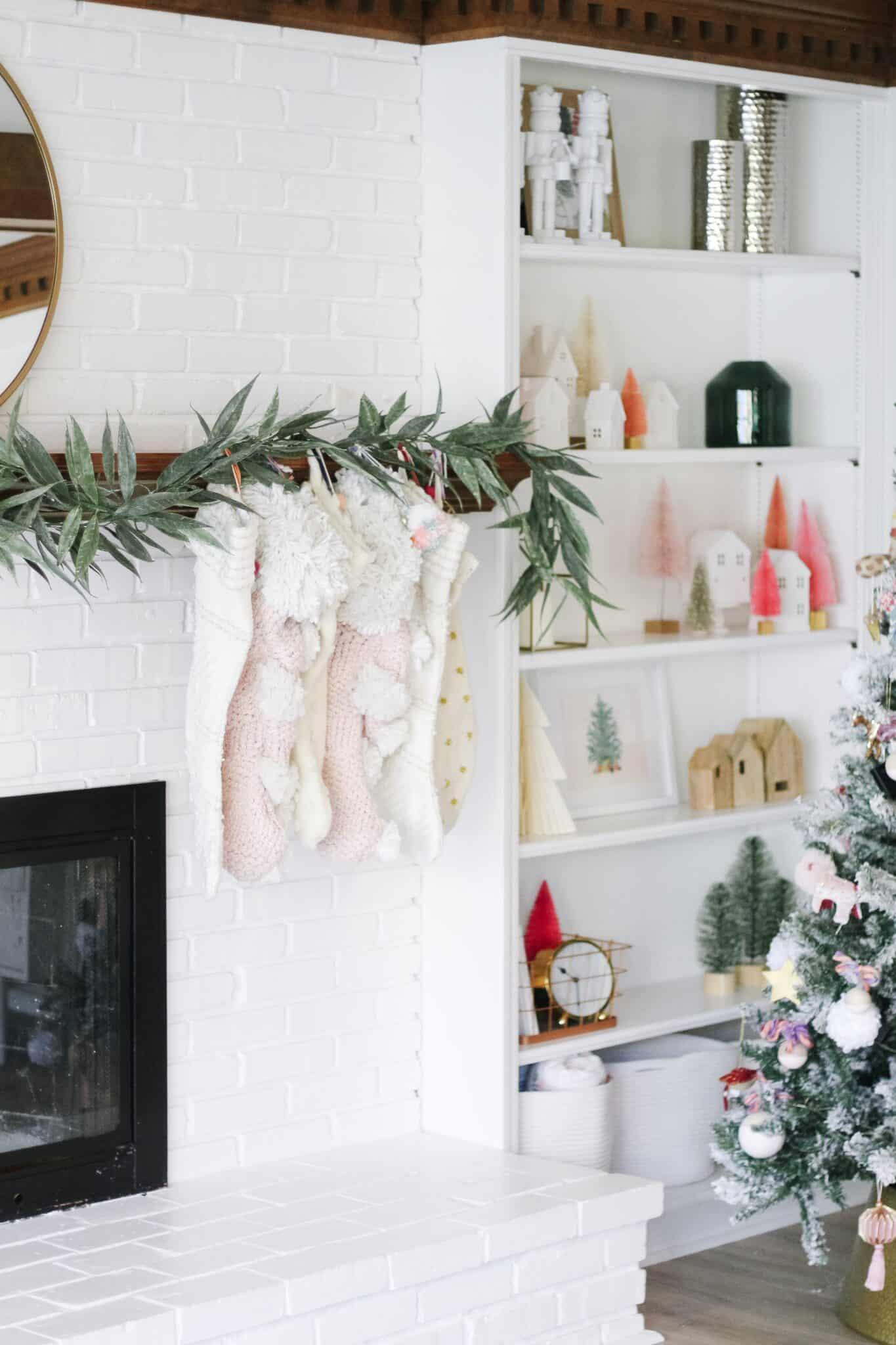 Anthropologie Stockings hanging on mantle