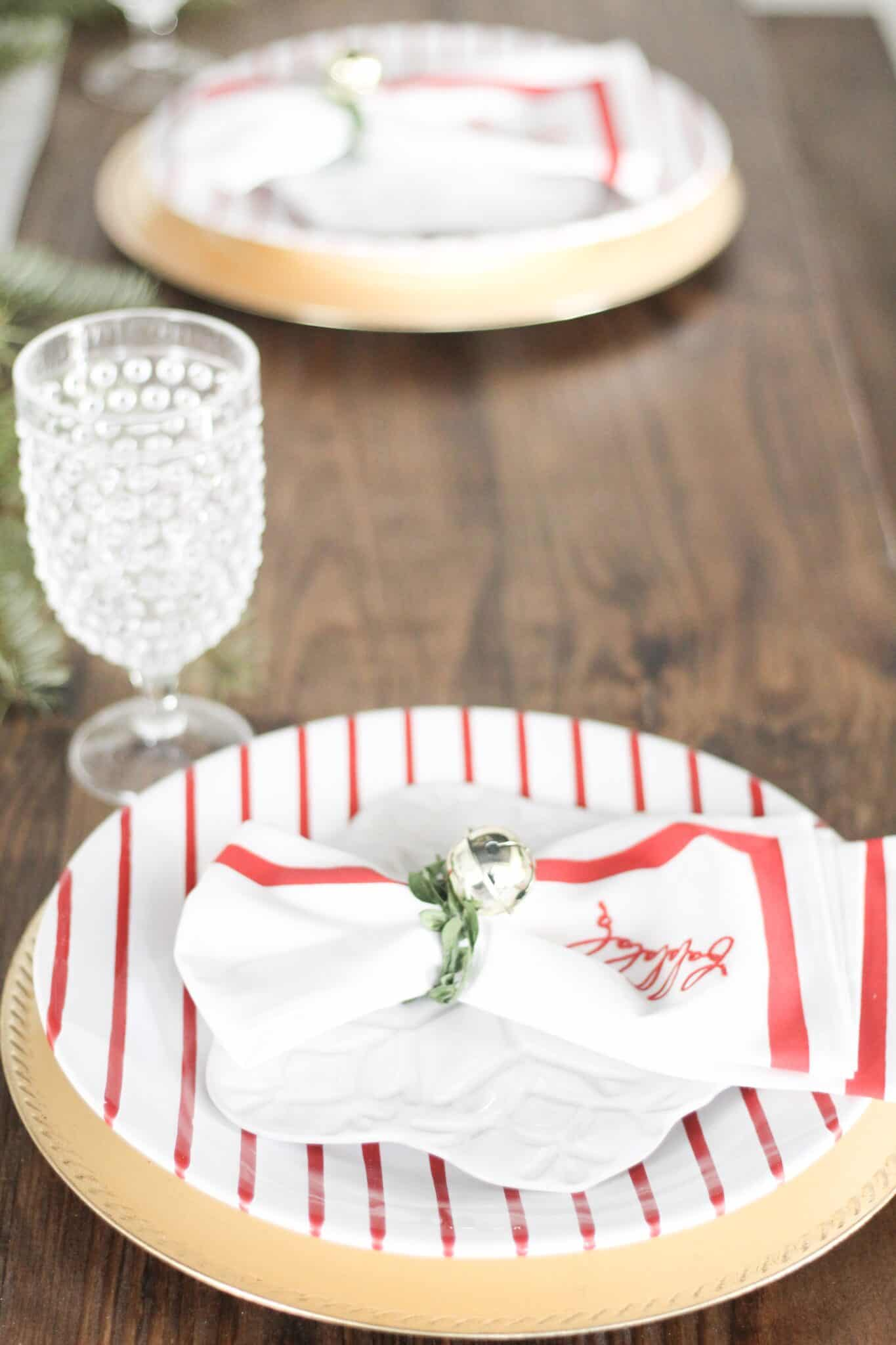 red striped dining table decor
