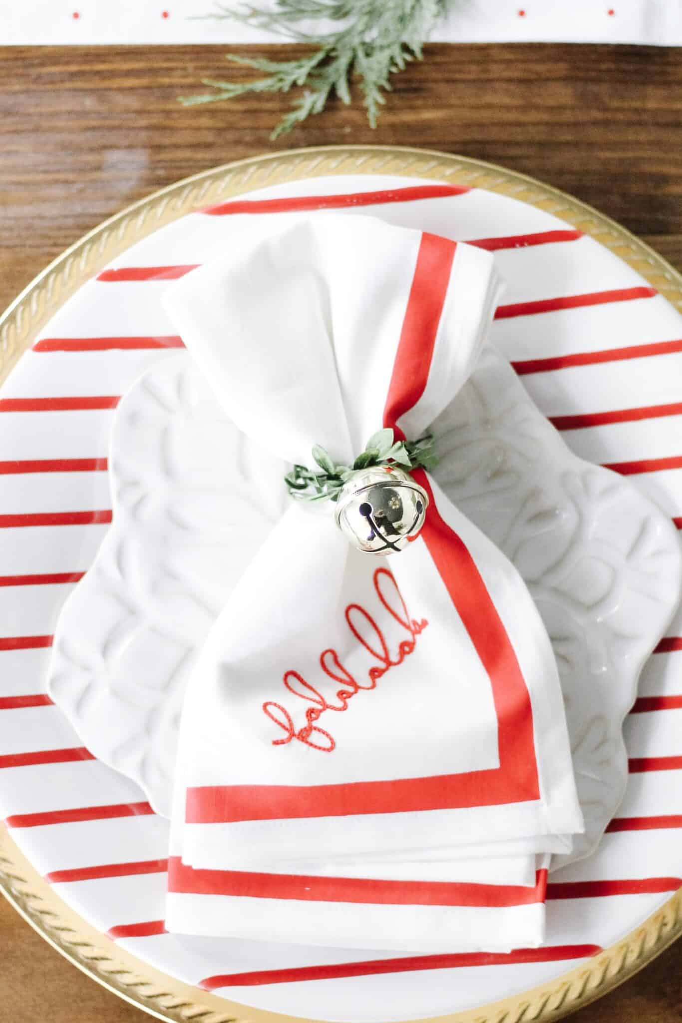 Falala napkin on red striped plate