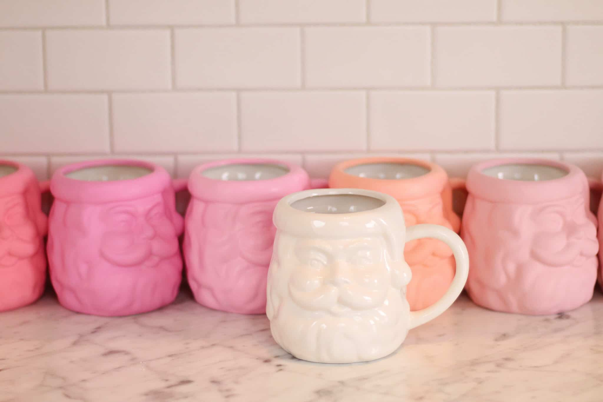 Pink and white Santa mugs