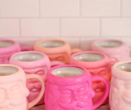 DIY Pink Christmas mugs