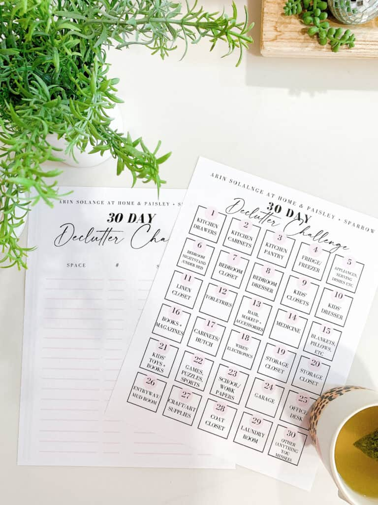 30 day declutter your home challenge worksheets