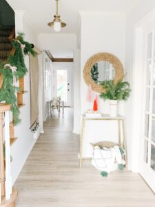 front entryway decorated for Christmas