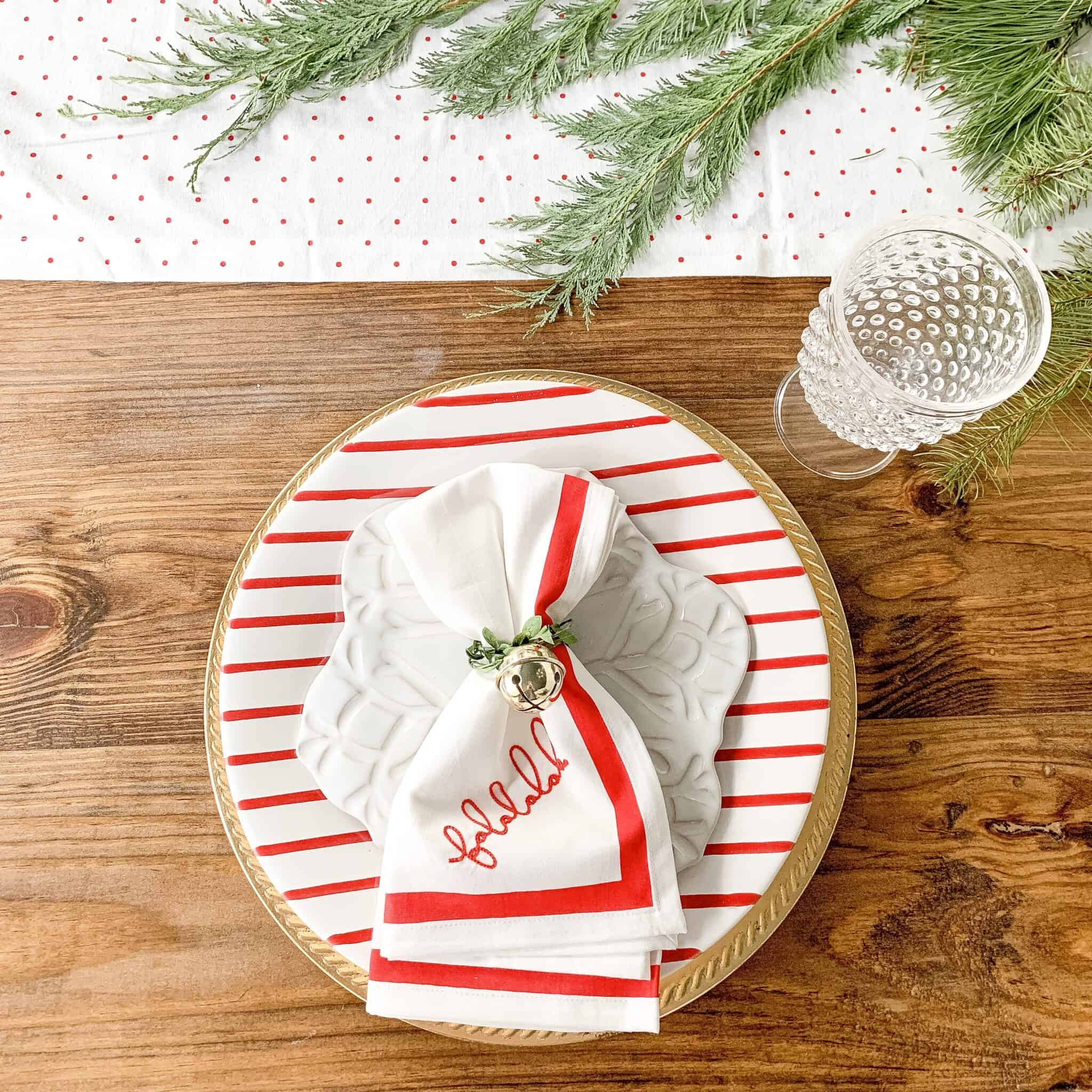 red striped plates for Christmas