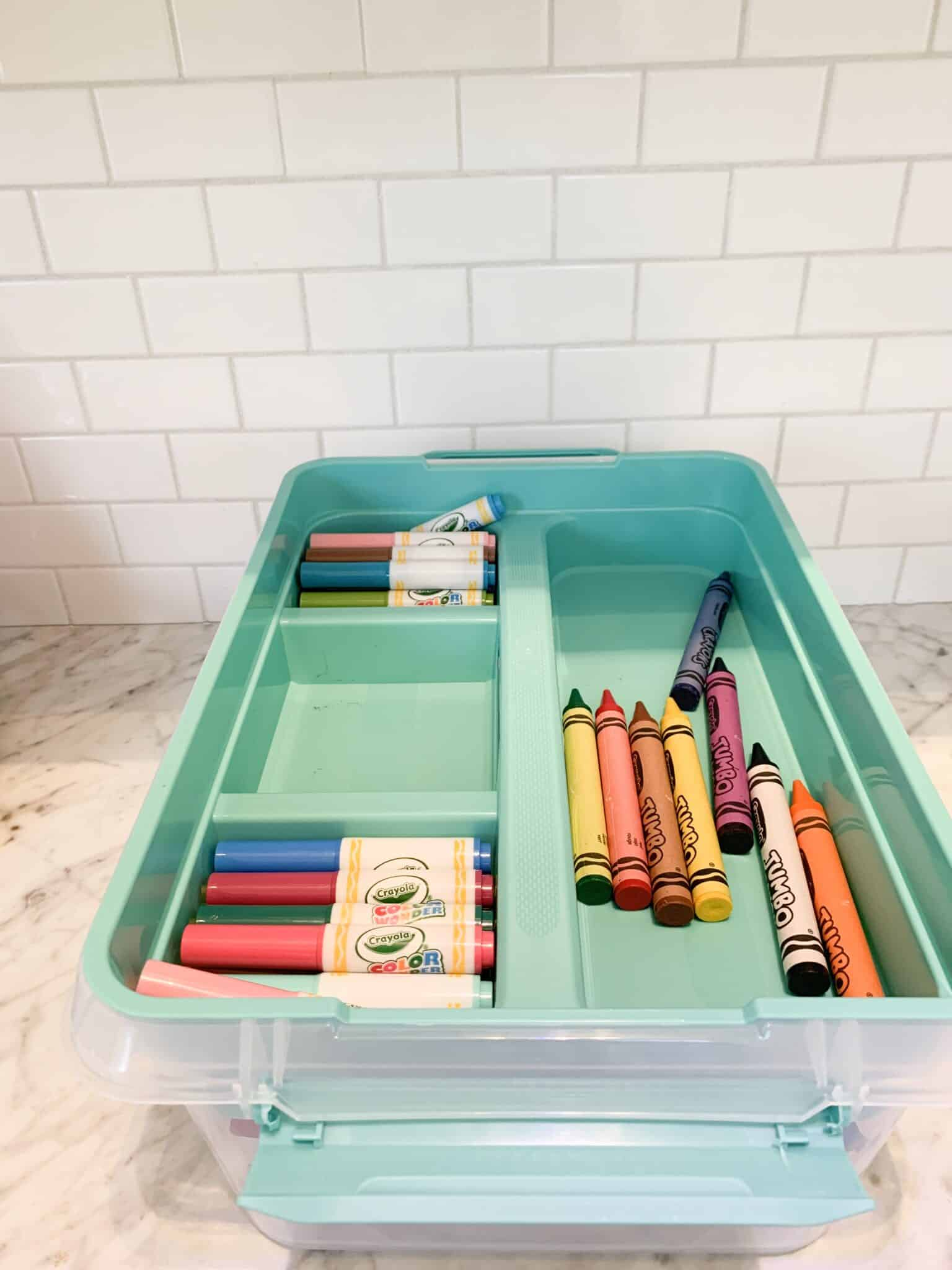 Bin filled with easy kids crafts