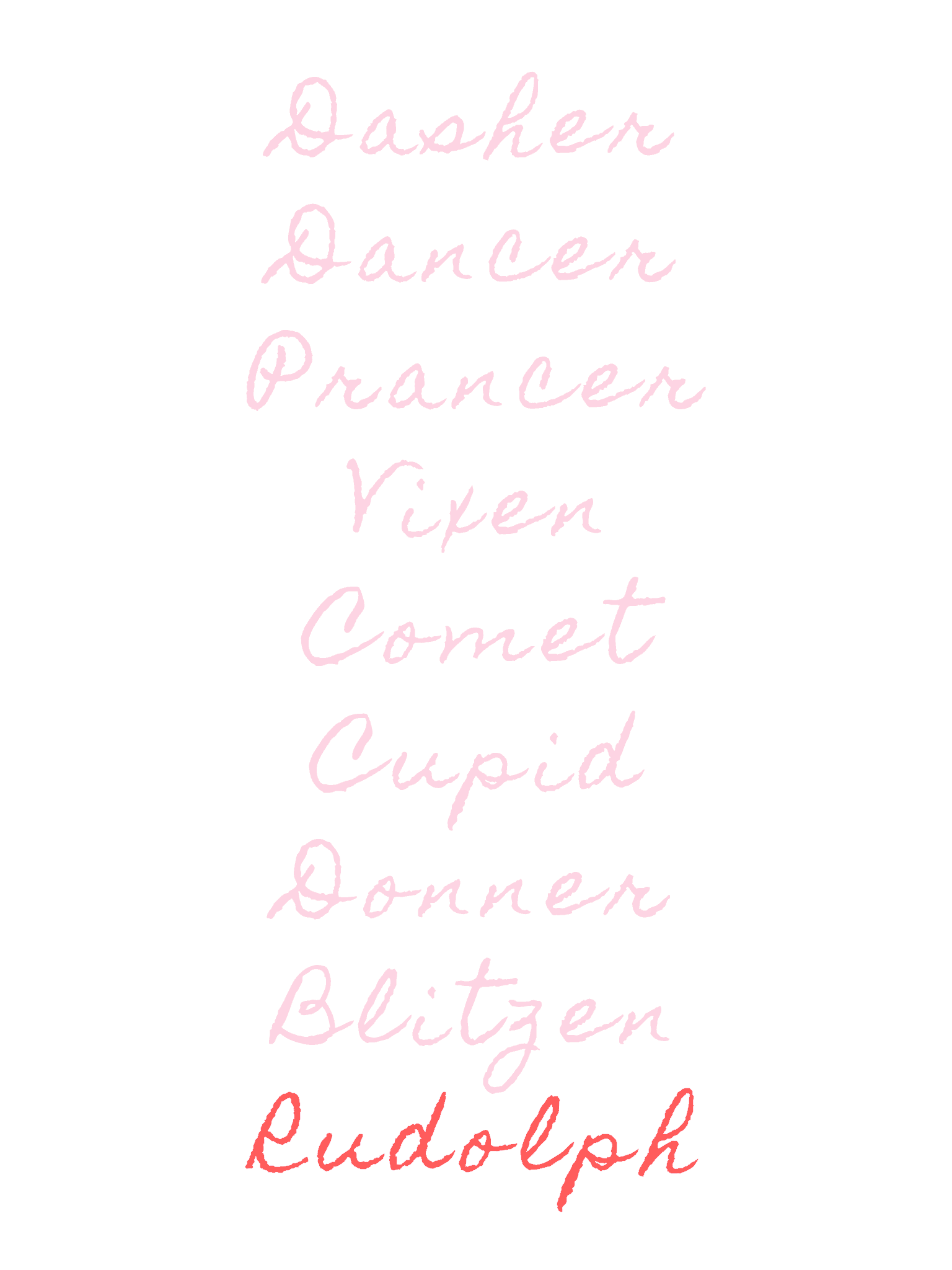 reindeer names in pink and red