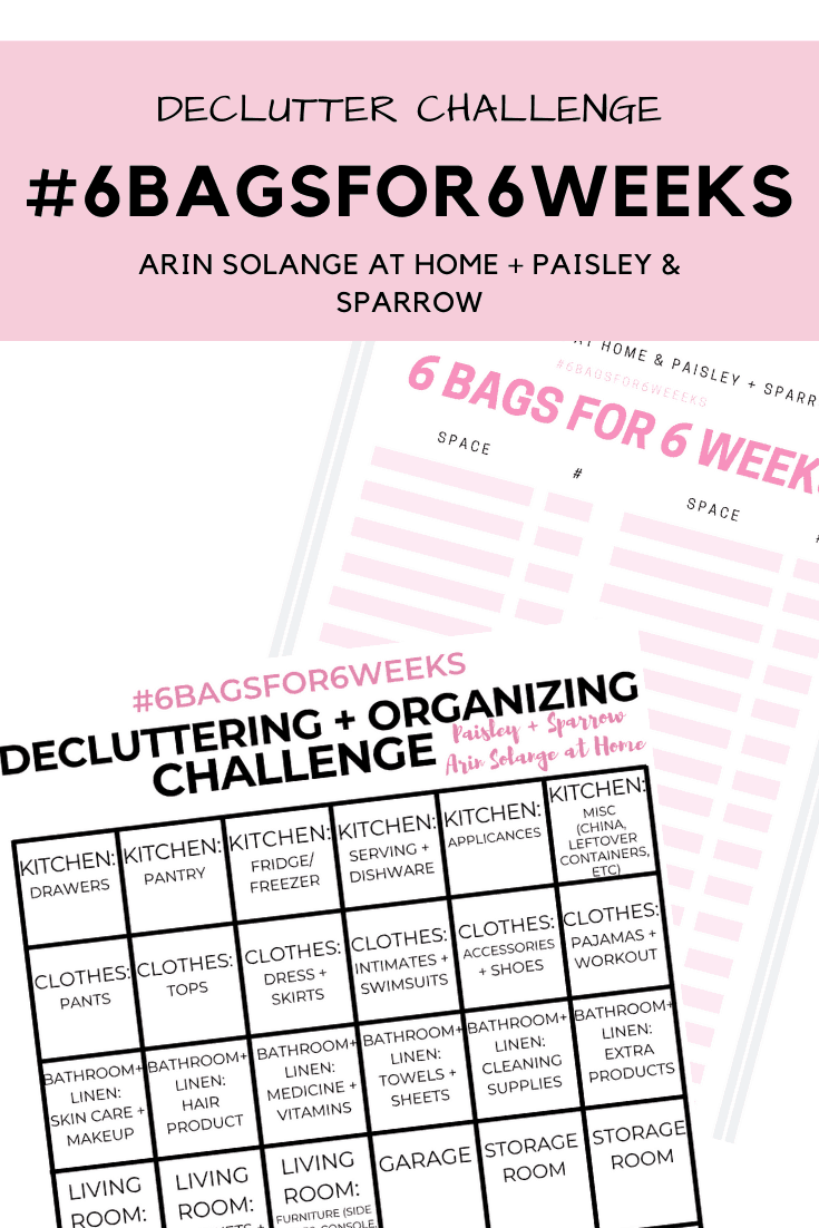 home declutter challenge sheets