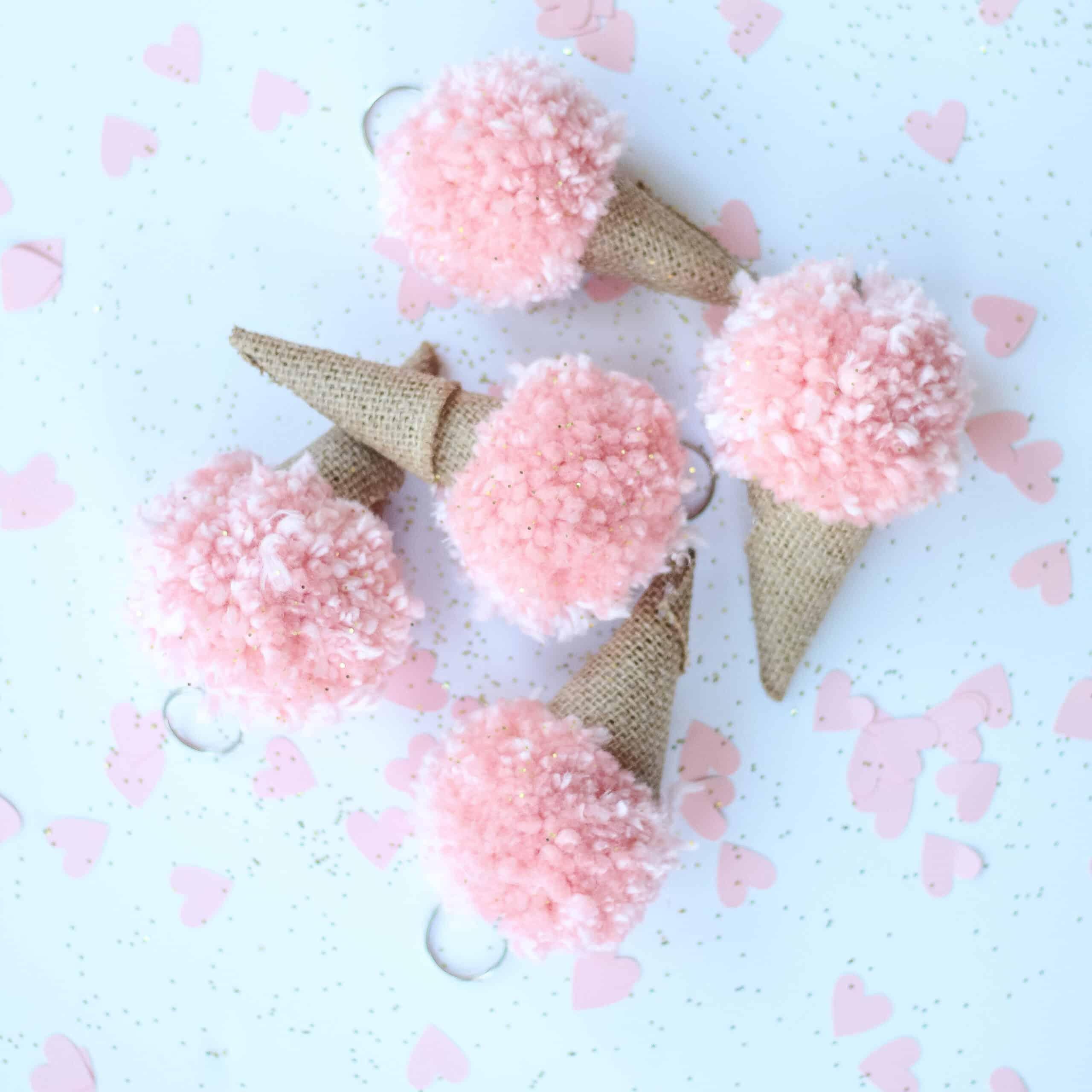 DIY Pom Pom Ice-cream cones