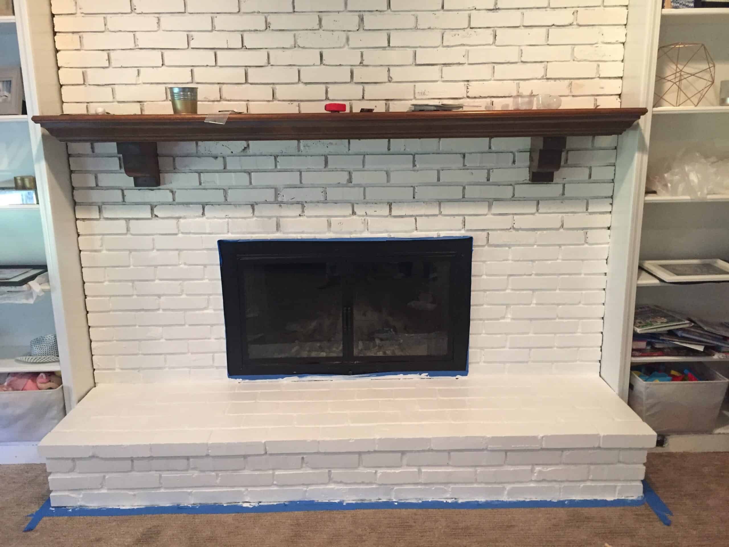 DIY Painted White Brick fireplace