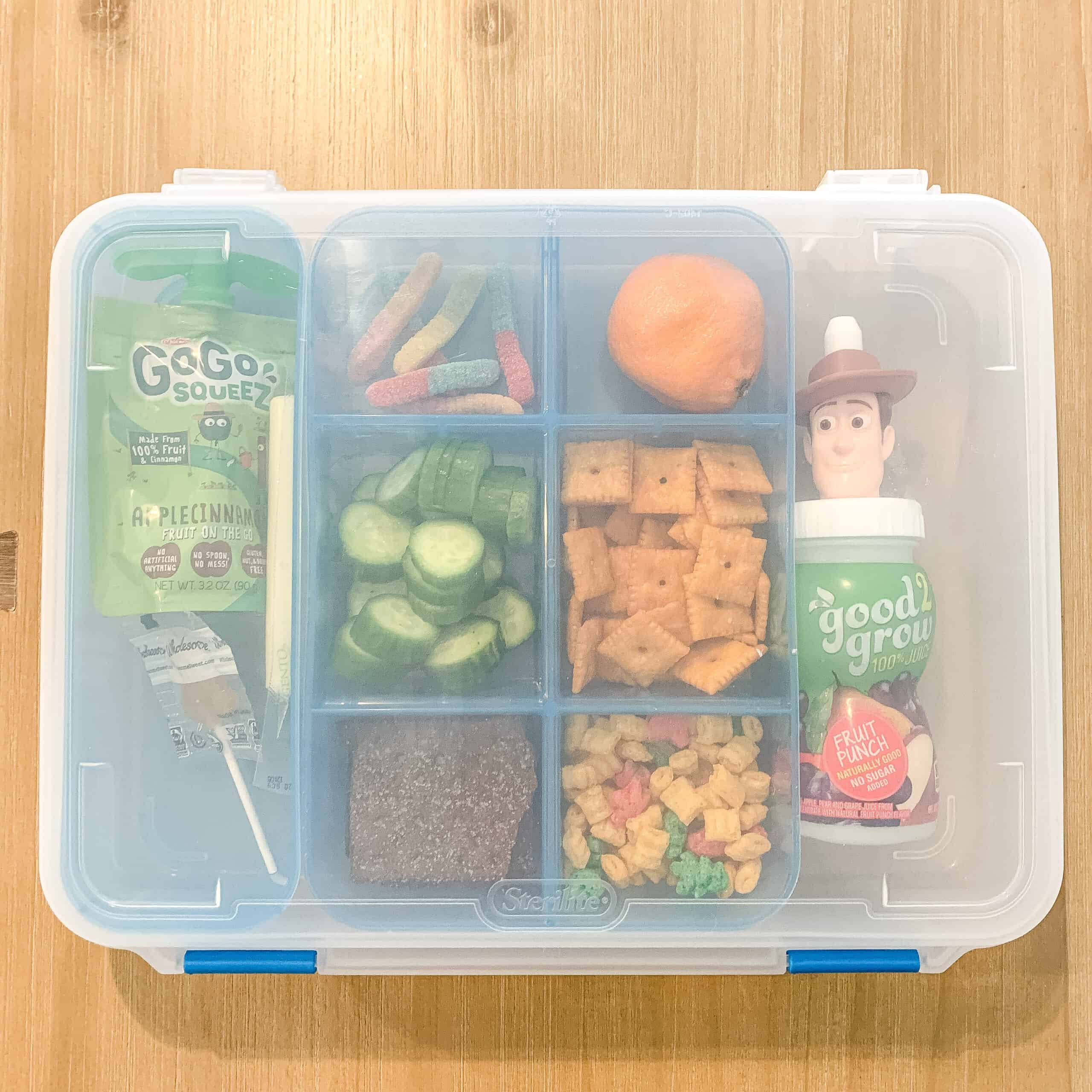 Sterilite container with snacks for car travel