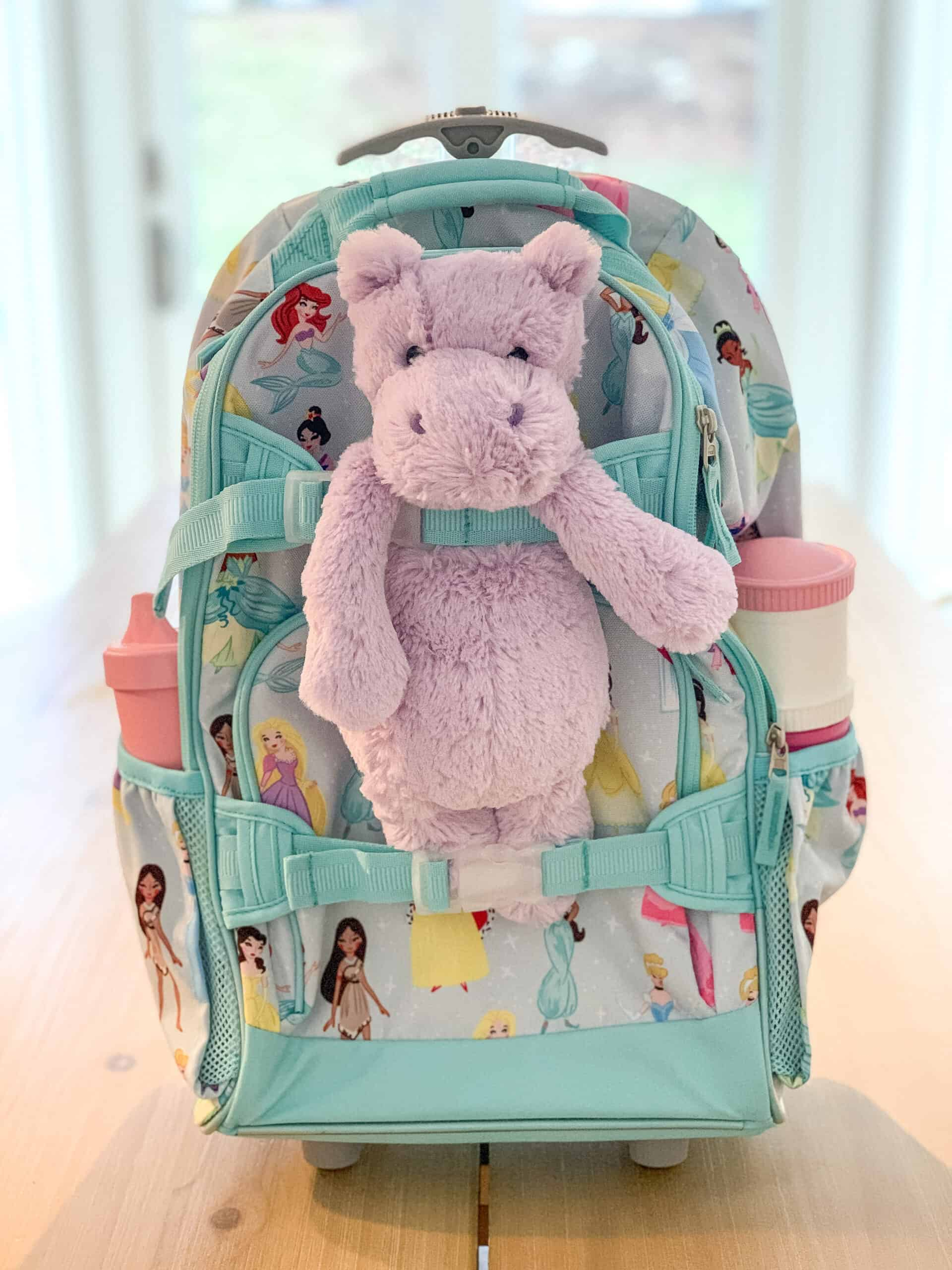 Pottery Barn rolling backpack with stuffed animal