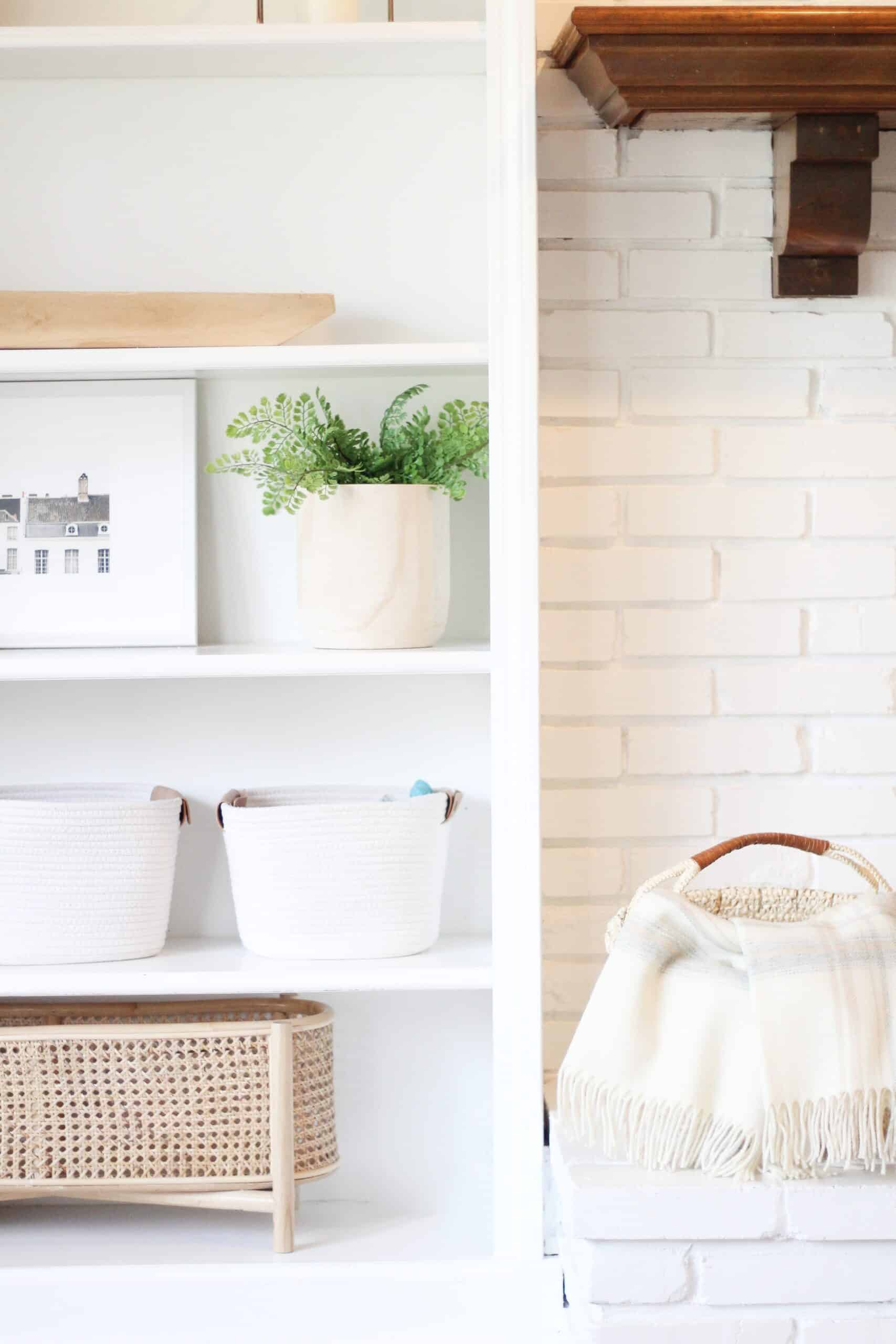 built ins with white baskets