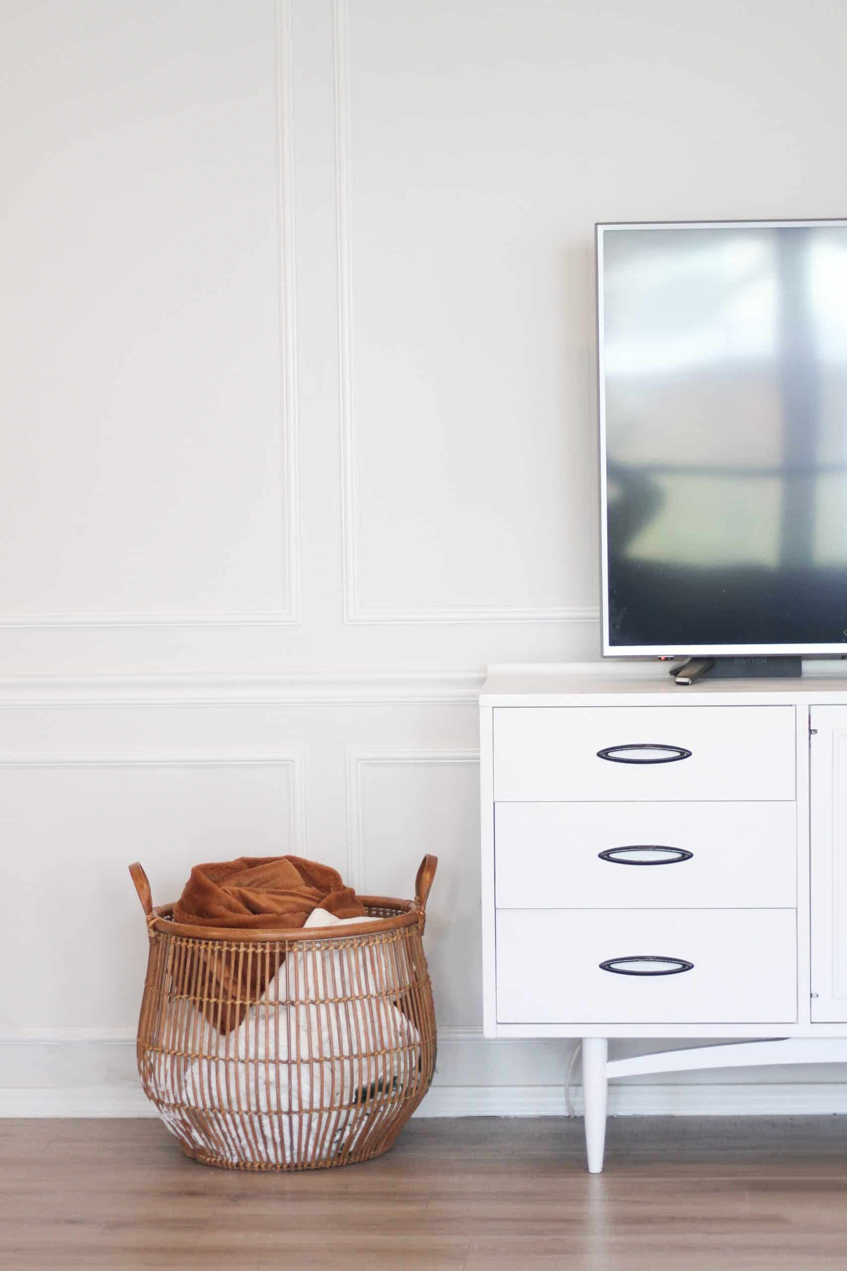 Mid century tv stand and blanket basket