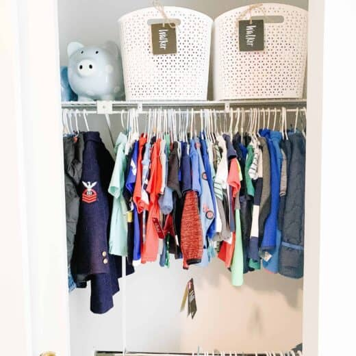 Shared sibling closet with organizational items