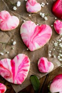 tie dye pink heart cookies for Valentines Day
