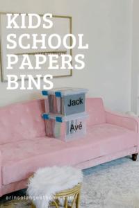 Kids School Papers storage bins