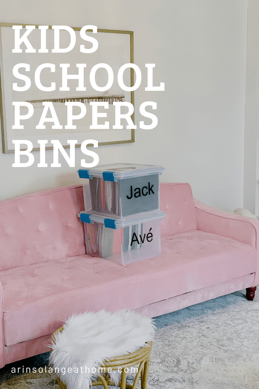 Kids School Papers storage bins