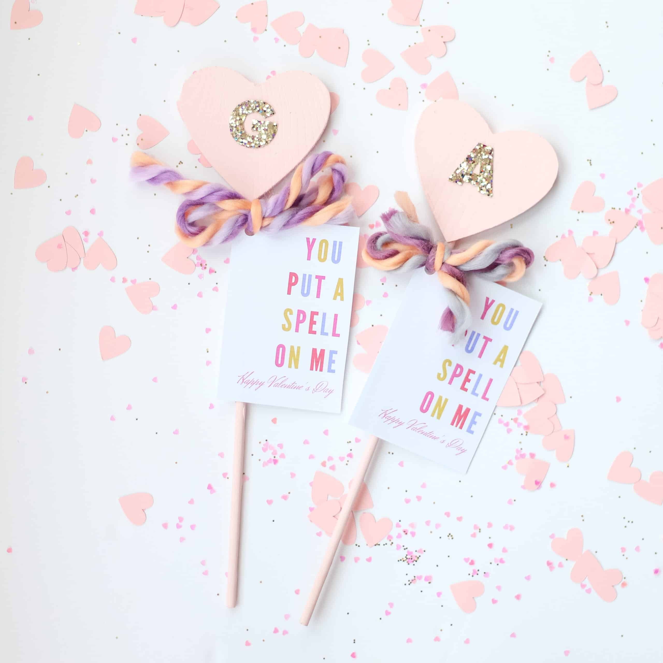 DIY heart wand with valentines