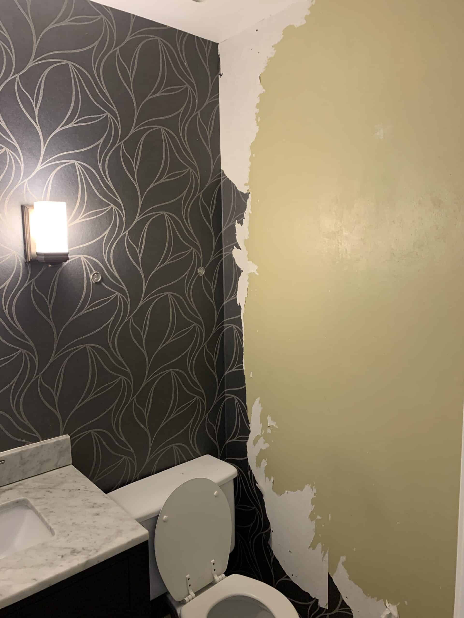 Removing wallpaper in powder room