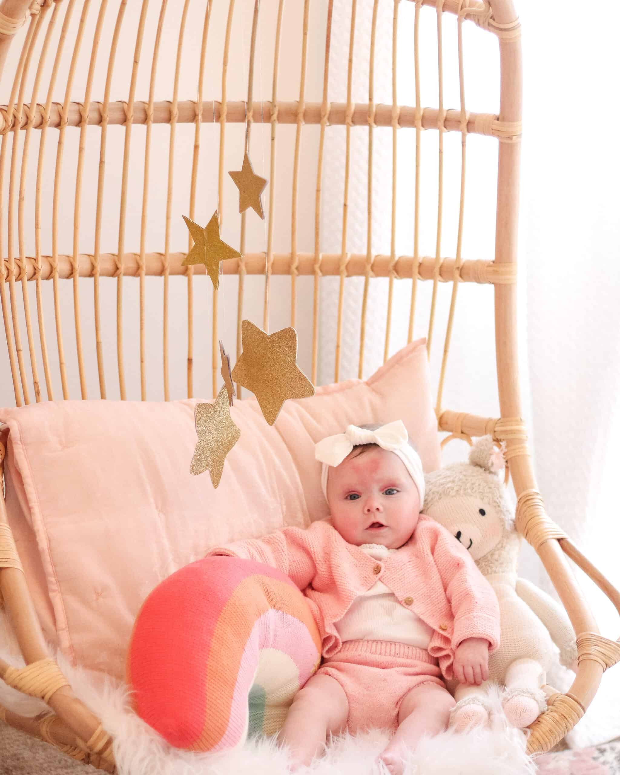 5 month old baby on Serena and Lilly hanging chair