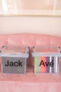 Kids school work bins