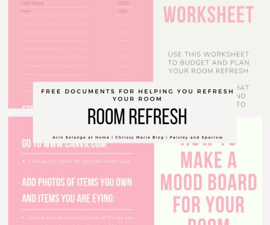 Room refresh challenge worksheets