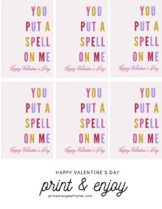 free printable you put a spell on me valentine