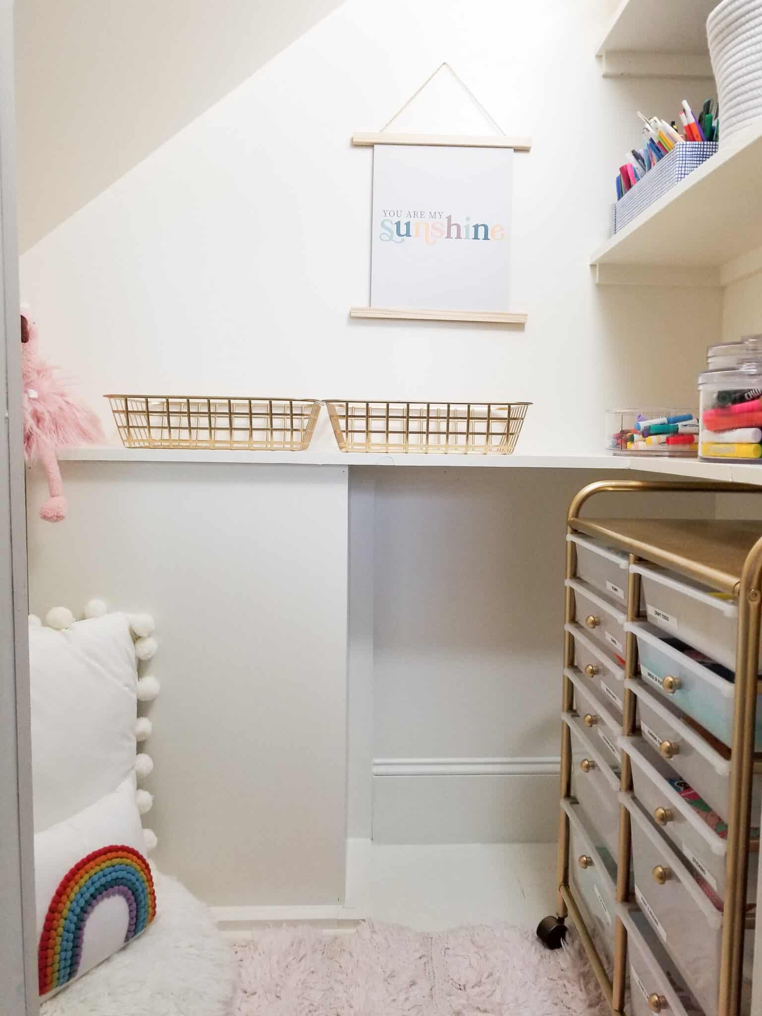 under stairs craft nook