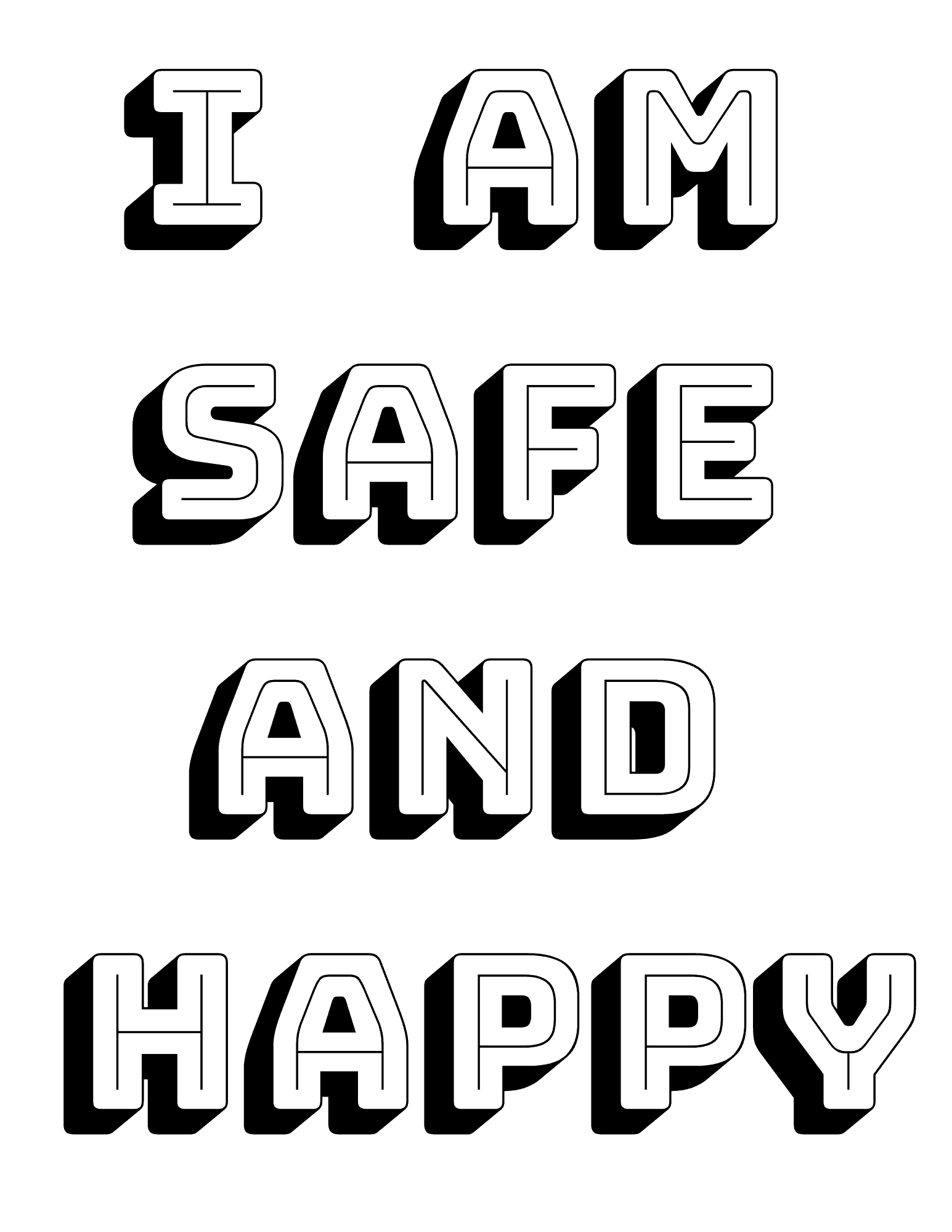 I am safe and happy coloring page