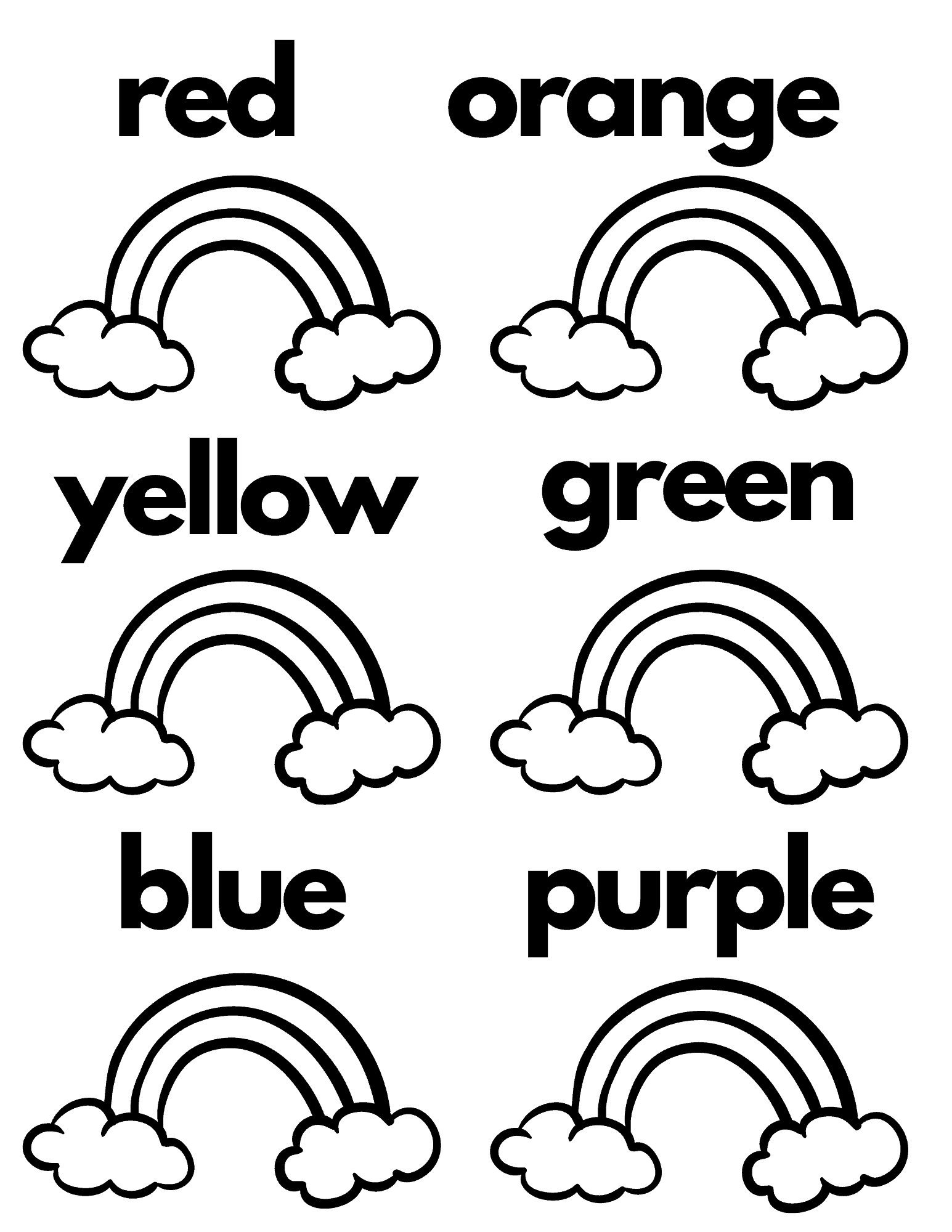 color recognition rainbow coloring page