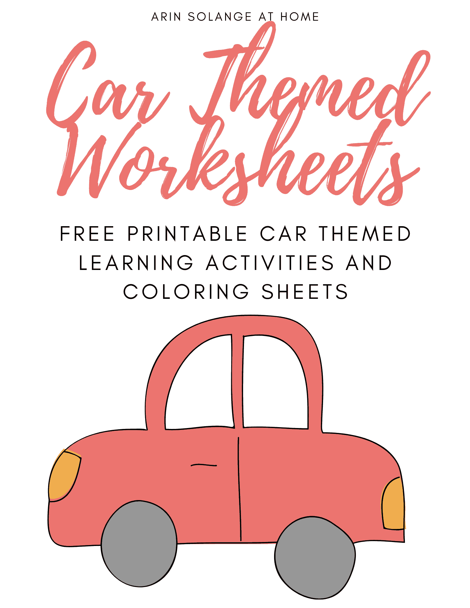 car themed free printable preschool worksheets
