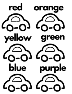 color practice free car worksheet