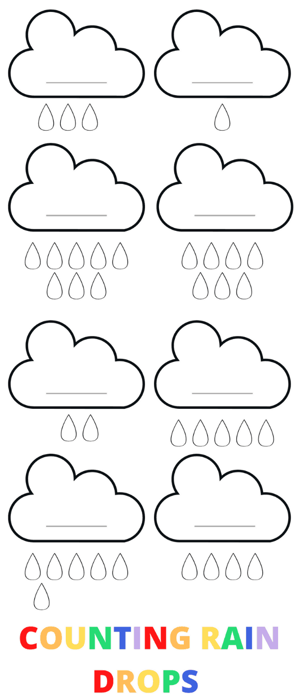 Count the raindrops preschool counting printable