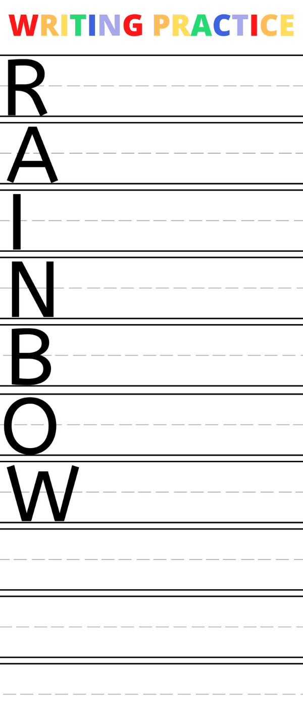 Printable Rainbow writing activity