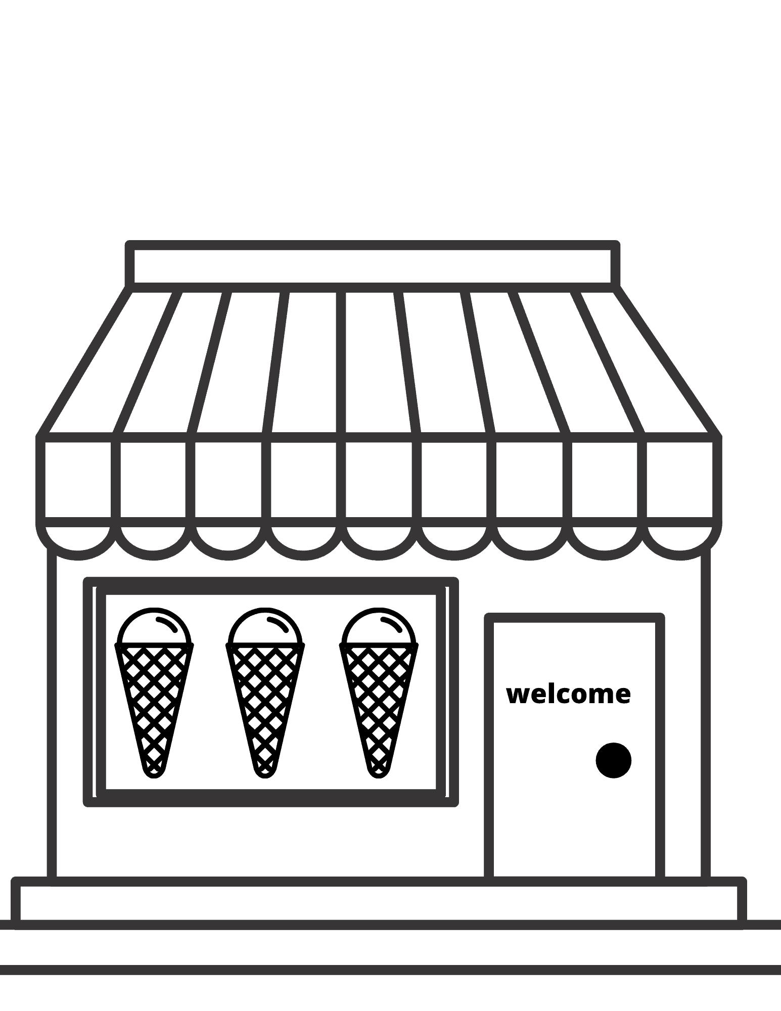 Ice Cream shop coloring page