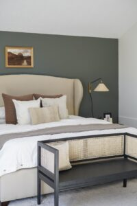 Master bedroom with sage green wall