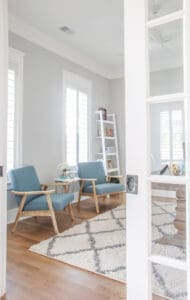 Blue chairs in playroom